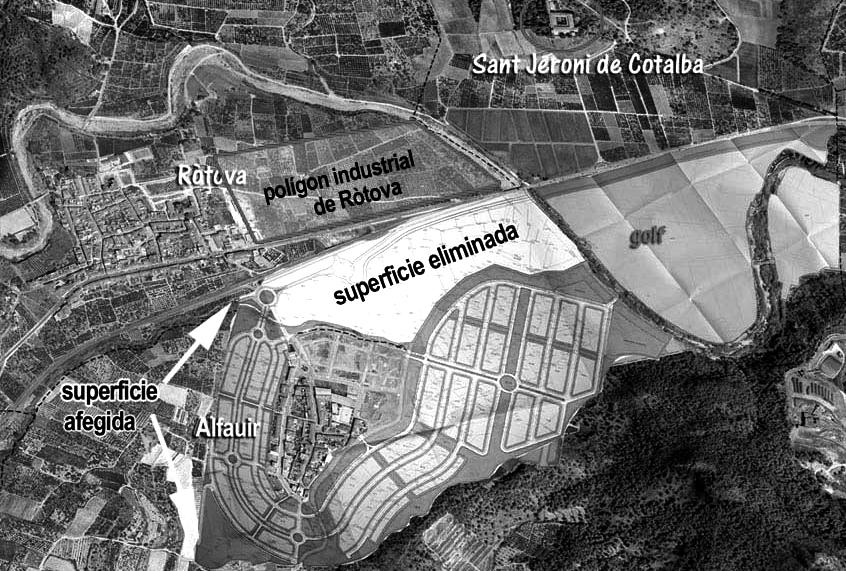 Plànol de la nova versió del projecte Vernissa Golf, sobre una fotoa aèrea.